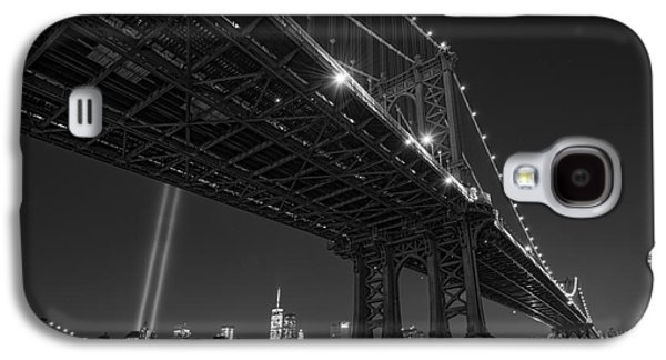Manhatan Galaxy S4 Cases - Manhattan Bridge 911 BnW Galaxy S4 Case by Michael Ver Sprill