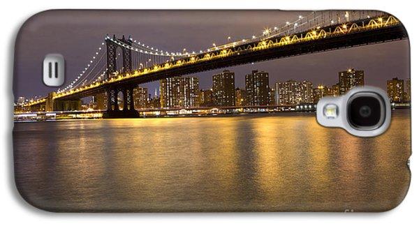 Leda Photography Galaxy S4 Cases - Manhattan Bridge Lights  Galaxy S4 Case by Leslie Leda