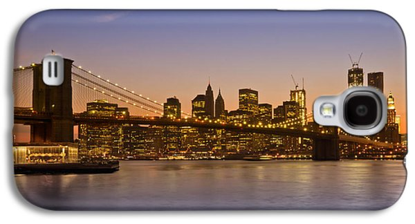 Pier Digital Galaxy S4 Cases - MANHATTAN Brooklyn Bridge Galaxy S4 Case by Melanie Viola