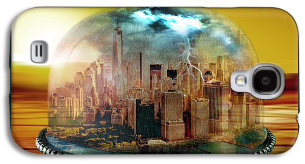 Digital Collage Galaxy S4 Cases - Manhattan Under the Dome Galaxy S4 Case by Marian Voicu