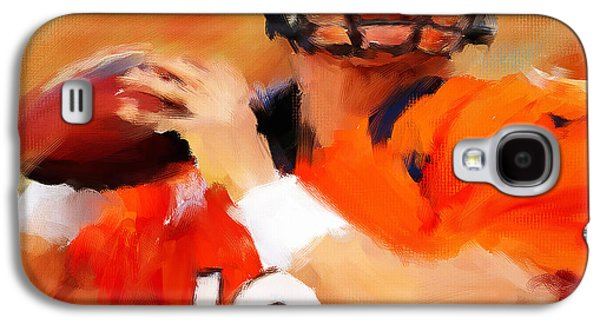 Rugby Paintings Galaxy S4 Cases - Manning Galaxy S4 Case by Lourry Legarde