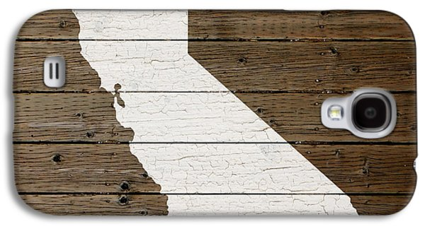 Painted Mixed Media Galaxy S4 Cases - Map of California State Outline White Distressed Paint on Reclaimed Wood Planks Galaxy S4 Case by Design Turnpike