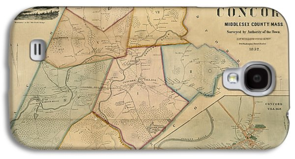 Concord Galaxy S4 Cases - Map of Concord 1852 Galaxy S4 Case by Andrew Fare