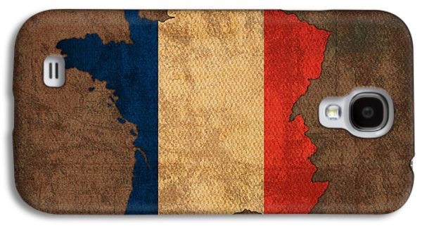 Flag Mixed Media Galaxy S4 Cases - Map of France With Flag Art on Distressed Worn Canvas Galaxy S4 Case by Design Turnpike