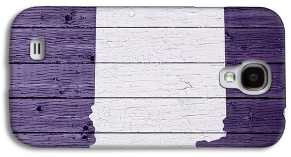 Map Of Indiana State Outline White Distressed Paint On Reclaimed Wood Planks Galaxy S4 Case by Design Turnpike