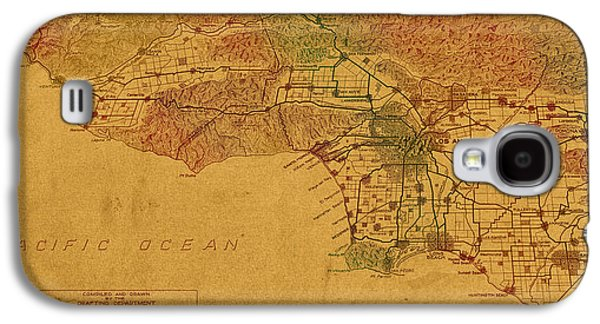 Hand Drawn Galaxy S4 Cases - Map of Los Angeles Hand Drawn and Colored Schematic Illustration from 1916 on Worn Parchment Galaxy S4 Case by Design Turnpike