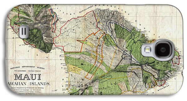 Map Drawings Galaxy S4 Cases - Map of Maui 1885 Galaxy S4 Case by Jon Neidert