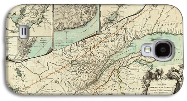 Quebec Galaxy S4 Cases - Map of Quebec 1776 Galaxy S4 Case by Andrew Fare