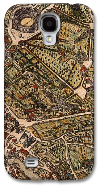 Street Drawings Galaxy S4 Cases - Map of Rome Galaxy S4 Case by Joan Blaeu