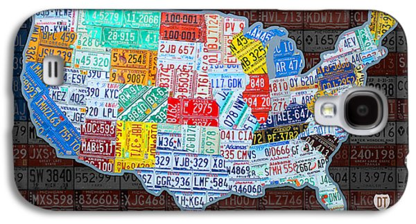 States Mixed Media Galaxy S4 Cases - Map of the United States in Vintage License Plates on American Flag Galaxy S4 Case by Design Turnpike