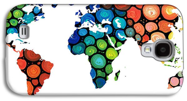 America The Continent Mixed Media Galaxy S4 Cases - Map of The World 1 -Colorful Abstract Art Galaxy S4 Case by Sharon Cummings