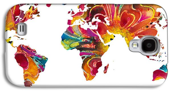 America The Continent Mixed Media Galaxy S4 Cases - Map of The World 2 -Colorful Abstract Art Galaxy S4 Case by Sharon Cummings