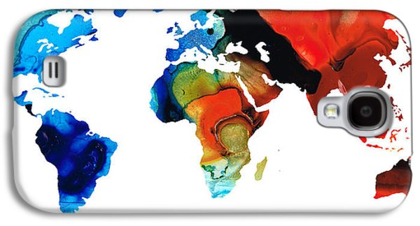 America The Continent Mixed Media Galaxy S4 Cases - Map of The World 3 -Colorful Abstract Art Galaxy S4 Case by Sharon Cummings