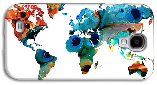 America The Continent Mixed Media Galaxy S4 Cases - Map of The World 6 -Colorful Abstract Art Galaxy S4 Case by Sharon Cummings