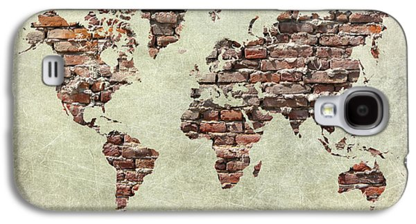 Torn Pyrography Galaxy S4 Cases - Map Of The World Like A Brick Wall Galaxy S4 Case by Christo Christov