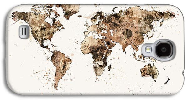 Atlas Galaxy S4 Cases - Map of the World Map Sepia Watercolor Galaxy S4 Case by Michael Tompsett