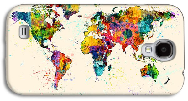 Cartography Digital Art Galaxy S4 Cases - Map of the World Map Watercolor Galaxy S4 Case by Michael Tompsett