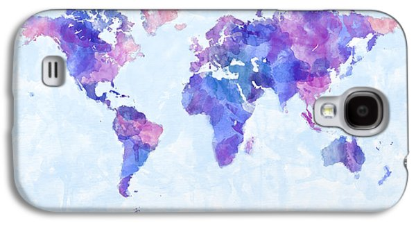 Map Galaxy S4 Cases - Map of the World Map Watercolor Painting Galaxy S4 Case by Michael Tompsett