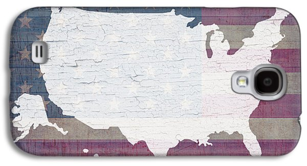 American Flag Mixed Media Galaxy S4 Cases - Map of United States in White Old Paint on American Flag Barn Wood Galaxy S4 Case by Design Turnpike