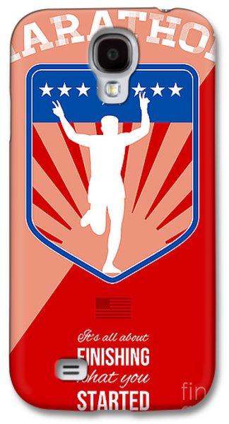 Marathon Runner Finish Run Poster Galaxy S4 Case by Aloysius Patrimonio