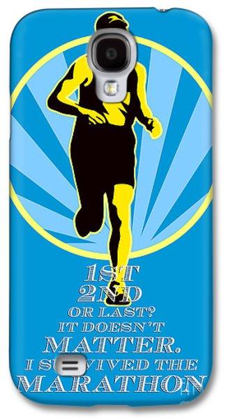 Marathon Runner First Retro Poster Galaxy S4 Case by Aloysius Patrimonio