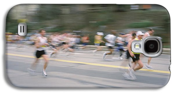 Sports Photographs Galaxy S4 Cases - Marathon Runners On A Road, Boston Galaxy S4 Case by Panoramic Images