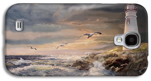 Sunset Greeting Cards Galaxy S4 Cases - Marblehead Lighthouse Ohio at Sunset Galaxy S4 Case by Gina Femrite