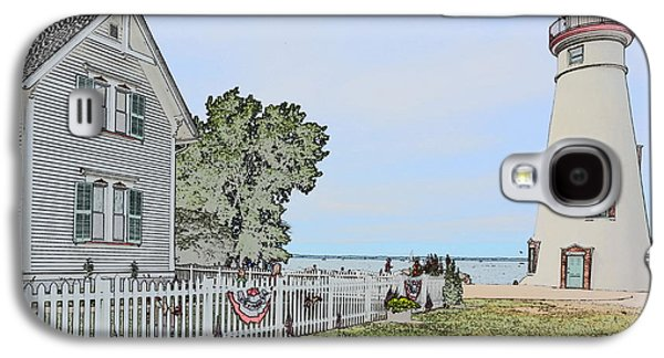 Historic Site Drawings Galaxy S4 Cases - Marblehead Lighthouse with Keepers house Galaxy S4 Case by Jim Steinmiller