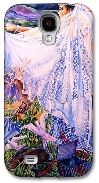 March Hare Galaxy S4 Cases - March Bride with Boxing Hares  Galaxy S4 Case by Trudi Doyle
