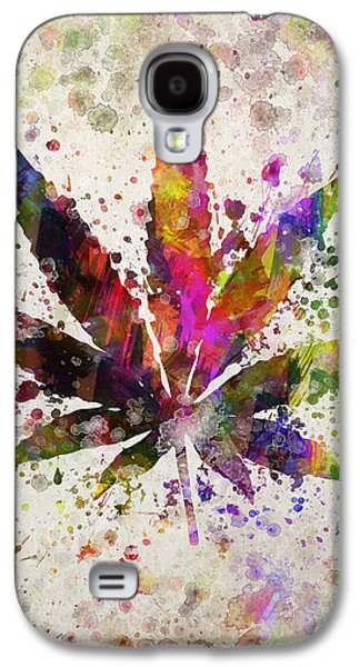 Smoke Digital Galaxy S4 Cases - Marijuana Leaf in Color Galaxy S4 Case by Aged Pixel