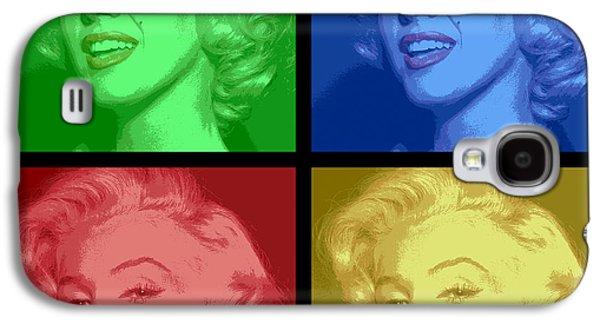 Beauty Mark Galaxy S4 Cases - Marilyn Monroe Colored Frame Pop Art Galaxy S4 Case by Daniel Hagerman