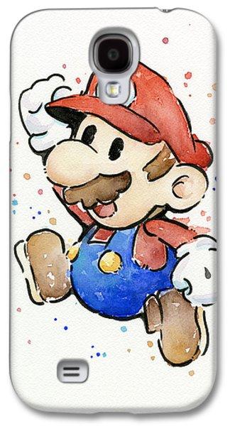 Character Portraits Galaxy S4 Cases - Mario Watercolor Fan Art Galaxy S4 Case by Olga Shvartsur