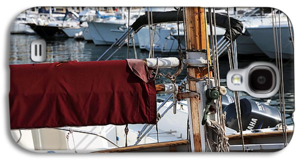 Docked Sailboat Galaxy S4 Cases - Maroon Sail  Galaxy S4 Case by John Rizzuto