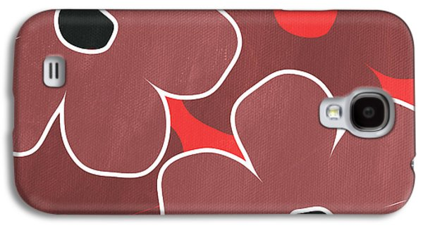 Graphic Mixed Media Galaxy S4 Cases - Marsala and Red Flowers- bold floral art Galaxy S4 Case by Linda Woods