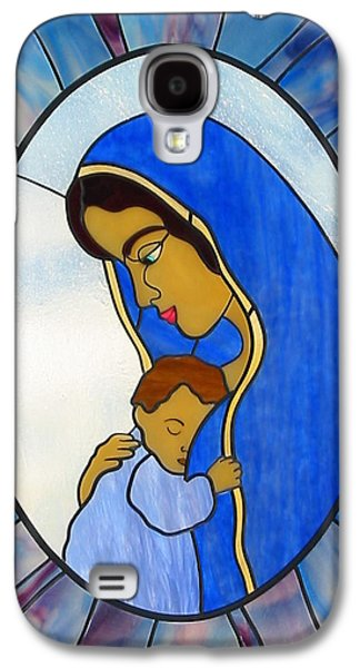 Print Glass Art Galaxy S4 Cases - Blessed Virgin Mary Galaxy S4 Case by Suzanne Tremblay
