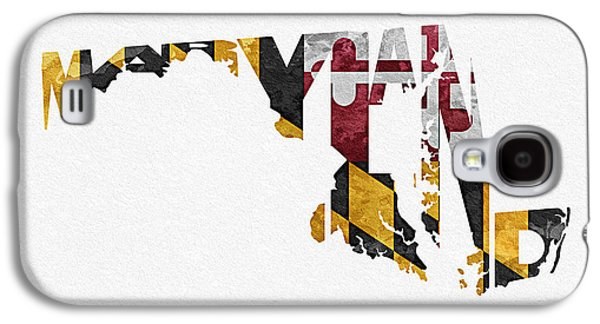 Bizarre Galaxy S4 Cases - Maryland Typographic Map Flag Galaxy S4 Case by Ayse Deniz
