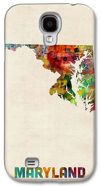 Geography Galaxy S4 Cases - Maryland Watercolor Map Galaxy S4 Case by Michael Tompsett