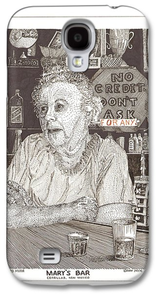 Owner Drawings Galaxy S4 Cases - Marys Bar Cerrillos New Mexico Galaxy S4 Case by Jack Pumphrey