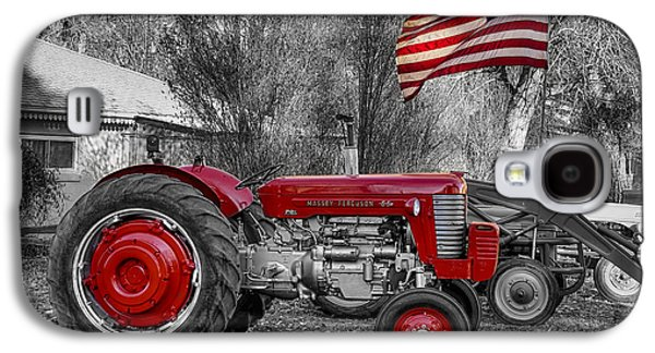 Tractor Prints Galaxy S4 Cases - Massey -  Feaguson 65 Tractor with USA Flag BWSC Galaxy S4 Case by James BO  Insogna