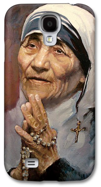 work Paintings Galaxy S4 Cases - Mather Teresa Galaxy S4 Case by Ylli Haruni