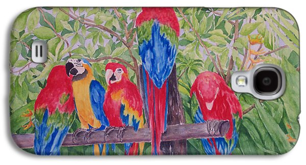 Group Of Birds Paintings Galaxy S4 Cases - Maui Macaws Galaxy S4 Case by Rhonda Leonard