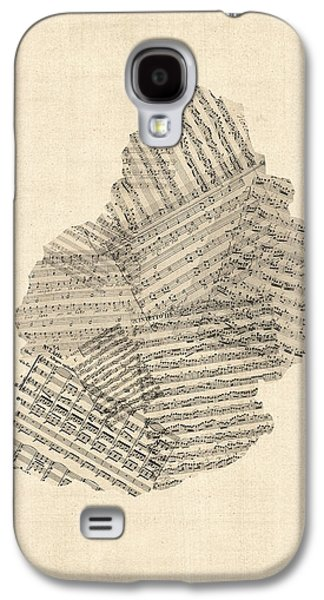Old Map Digital Galaxy S4 Cases - Mauritius Old Sheet Music Map Galaxy S4 Case by Michael Tompsett