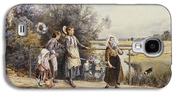 Family Walks Galaxy S4 Cases - May Day Garlands Galaxy S4 Case by Myles Birket Foster
