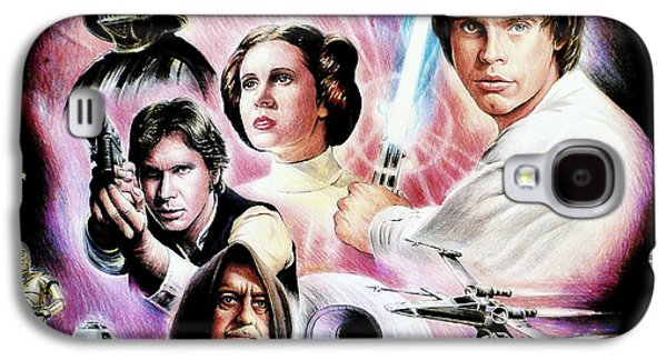 Science Fiction Drawings Galaxy S4 Cases - May the force be with you 2nd version Galaxy S4 Case by Andrew Read