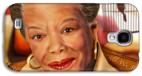 Cage Paintings Galaxy S4 Cases - Maya Angelou Rise of the Song Bird Galaxy S4 Case by Reggie Duffie
