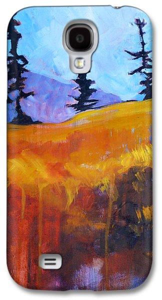 Abstract Landscape Galaxy S4 Cases - Meadow Mountain Galaxy S4 Case by Nancy Merkle