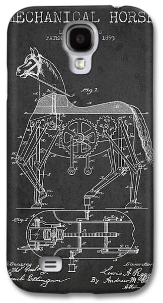 Horse Digital Galaxy S4 Cases - Mechanical Horse Patent Drawing From 1893 - Dark Galaxy S4 Case by Aged Pixel