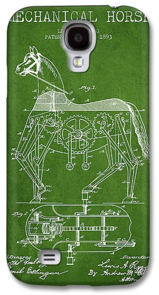 Horse Digital Galaxy S4 Cases - Mechanical Horse Patent Drawing From 1893 - Green Galaxy S4 Case by Aged Pixel