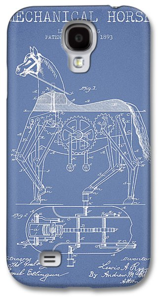 Horse Digital Galaxy S4 Cases - Mechanical Horse Patent Drawing From 1893 - Light Blue Galaxy S4 Case by Aged Pixel