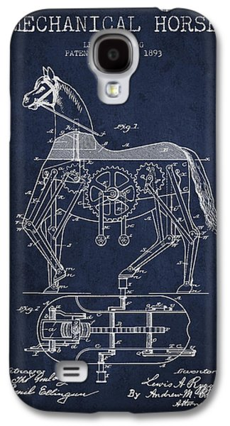 Horse Digital Galaxy S4 Cases - Mechanical Horse Patent Drawing From 1893 - Navy Blue Galaxy S4 Case by Aged Pixel